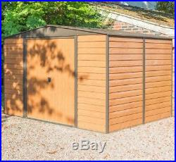 10x8 10ft x 8ft METAL APEX SHED GARDEN STEEL STORE STORAGE SHEDS BROWN OUTDOOR