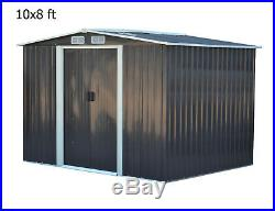 10x8 ft Apex Heavy-Duty Steel Outdoor Shed Metal Garden Storage Shed + Base