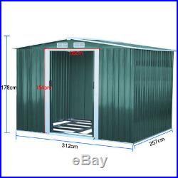 10x8ft Extra Large Outdoor Steel Metal Garden Storage Shed Tool House+Foundation