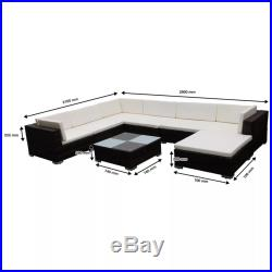 15/24 Pieces Outdoor Lounge Sofa Set Poly Rattan Garden Furniture Seat Couch NEW
