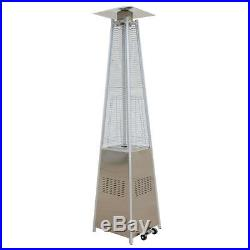 2 X 13KW Gas Patio Heater Stainless Steel Pyramid Garden Outdoor With Wheels Tube