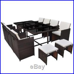 33 pcs Cube Rattan Garden Furniture Set Chairs Sofa Dining Table Outdoor L1E6