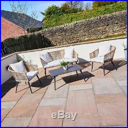 4 Piece Outdoor Rope Wicker Sofa, Chairs & Polywood Coffee Table Set Garden