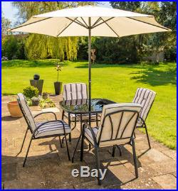 4 Seater Outdoor Dining Set Steel Garden Chairs Table Umbrella Ivory Black