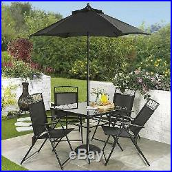 4 or 6 Seater Garden Set Outdoor Patio Furniture Table Chairs Parasol 2 Colours