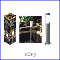60cm POST LIGHT SOLAR STAINLESS STEEL GARDEN DRIVEWAY OUTDOOR LED PATIO NEW