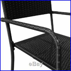 7 Piece Outdoor Dining Set Poly Rattan Garden Patio Table Chair Furniture Black