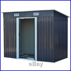 8 x 4ft Steel Garden Sheds Tool Storage Outdoor Window Shed With Free Foundation