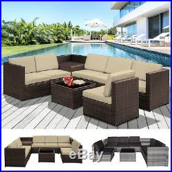 8Pcs Patio Rattan Sofa Garden Furniture Set Table with Cushions 6 Seater Outdoor