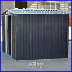 8x6FT Garden Tool Shed Metal Outdoor Storage House Galvanised Steel + Foundation