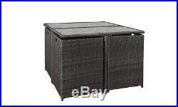 9PC Rattan Outdoor Garden Patio Furniture Set 4 Chairs 4 Stools & Dining Table