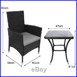 Bistro Set Rattan Outdoor Garden Chair Table Patio Dining Conservatory Black