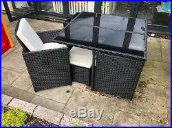 Cube Rattan Garden Furniture Set 4 Chairs Legrests Table Outdoor Patio