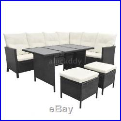 Cube Rattan Garden Furniture Set Chairs Sofa Dining Table Outdoor 19 pcs E0T4