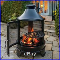 Garden Fire Pit Large BBQ Black Steel Grill Outdoor Patio Heater Cooker
