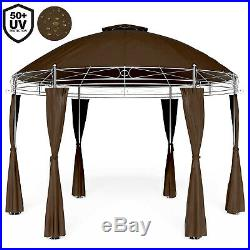 Garden Gazebo Round Brown 3.5m Pavilion Outdoor Patio Party Tent Side Panels