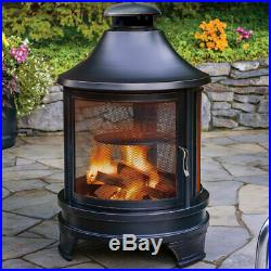 Garden Log Burner Fire Pit Outdoor Steel Cooking Pit Chimenea Party BBQ New
