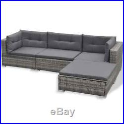 Garden Lounge Set 17 Pieces Poly Rattan Outdoor Sofa Seat And Table Grey Modern