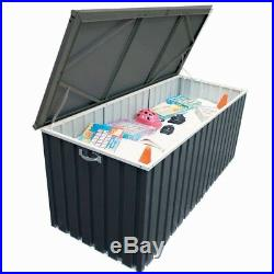 Garden Metal Storage Chest Box Grey Store Shed Tool Cushion Steel Outdoor Trunk