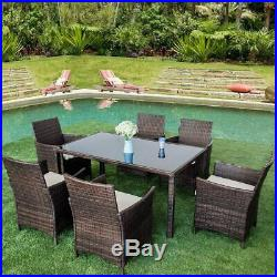 Garden Rattan Dining Set Table and Chairs Furniture Set Outdoor 7 PCS