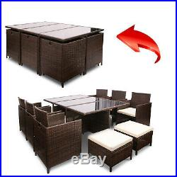 Garden Rattan Dining Set Table and Chairs Outdoor Furniture Set (11 PCS-Brown)