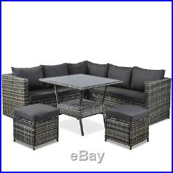 Garden Rattan Furniture outdoor Patio Furniture Conner Sofa with Dining Table