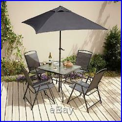 Garden Table And Chairs Furniture Set, Outdoor Dining 6 Piece, Foldable Seating