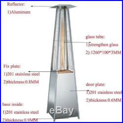 Gas Patio Heater Flame 13KW Stainless Steel Pyramid Garden Outdoor With Wheel aj