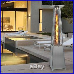 Gas Patio Heater Flame Stainless Steel Pyramid Garden Outdoor With Wheel Tube 13KW