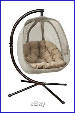 Hanging Egg Chair Outdoor Porch Garden Swing Cushion Seat Furniture Steel Stand
