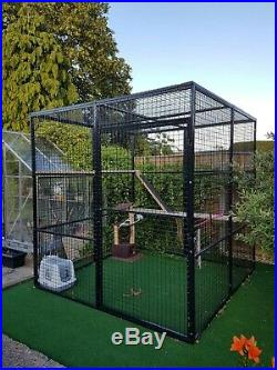Large 8ft/8ft Dog Kennel Outdoor Home Garden Pet Cage Heavy Duty Steel Black