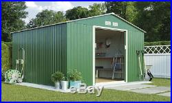 Metal Garden Shed 10X9 FT Apex Galvanised Steel Outdoor Storage with Free Base uF