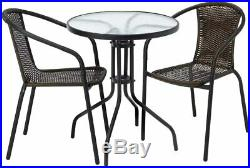Outdoor Bistro Set Furniture Garden Dining Chairs Table Patio Rattan 3 Pieces