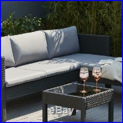 Outdoor Chaise Sofa With Table Patio Set Garden Furniture Black And Grey Cushion