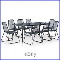 Outdoor Dining Set 9 Piece PE Rattan Black Garden Table and Chairs Furniture Set