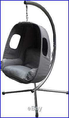 Outdoor Garden Hanging Swing Egg Chair Seat Grey Fabric Cushion Cocoon Patio