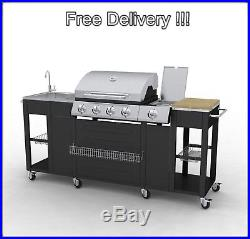 Outdoor Kitchen BBQ Large Portable Grill Gas Barbecue Garden Inox Sink Cabinet
