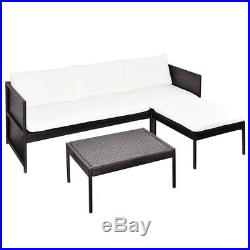 Outdoor Lounge Set 9 Pieces Poly Rattan Furniture Seat Brown Garden Table Patio