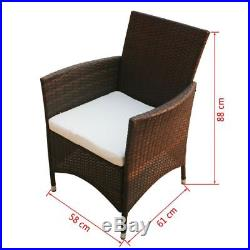 Outdoor Rattan Dining Set 17 PCS Garden Table and 8 Chairs Furniture Set Brown