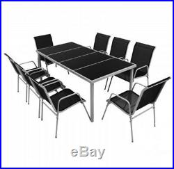 Outdoor Steel Dinning Sets 9 Pieces Garden Rectangle Table and Textilene Chairs
