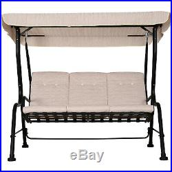 Outsunny 3 Seater Outdoor Garden Swing Chairs Padded Seat Hammock Canopy Beige