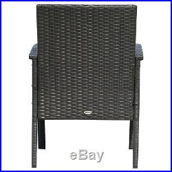 Outsunny 3PC Rattan Table Chair Garden Bistro Set Outdoor Furniture Dinning Seat