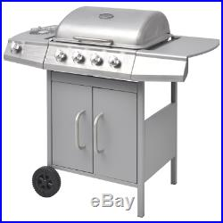 Professional 4 Burner BBQ Gas Grill Stainless Steel +1 Side Outdoor Garden Patio