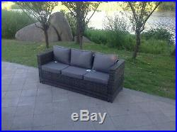 Rattan 3 seater lounge sofa chair patio outdoor garden furniture with cushion