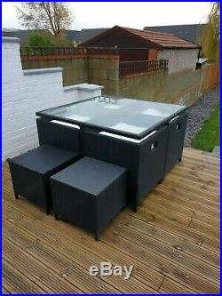 Rattan Cube garden furniture set. 6 seater chairs table outdoor patio wicker
