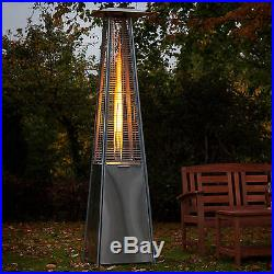 Real Flame Gas Patio Heater Glass Stainless Steel Outdoor Garden Fire Mountain