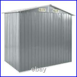 VidaXL Garden Shed with Rack Grey Iron Outdoor Storage House Tool Building
