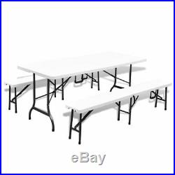 VidaXL Garden Table with 2 Benches Foldable HDPE and Steel 180 cm Outdoor